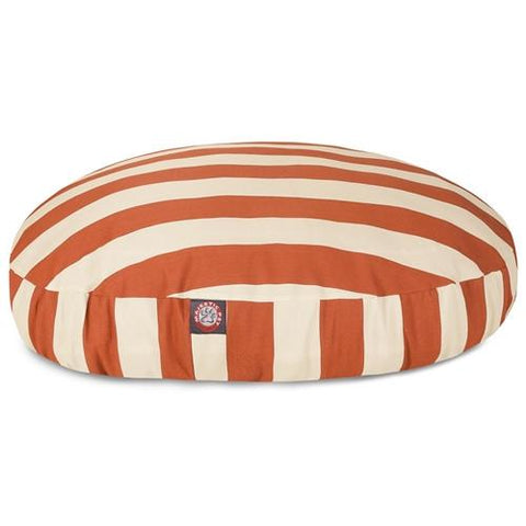 Majestic Pet Products Burnt Orange Vertical Stripe Large Round Pet Bed - Peazz.com
