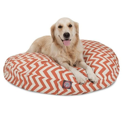 Majestic Pet Products Burnt Orange Chevron Large Round Pet Bed - Peazz.com