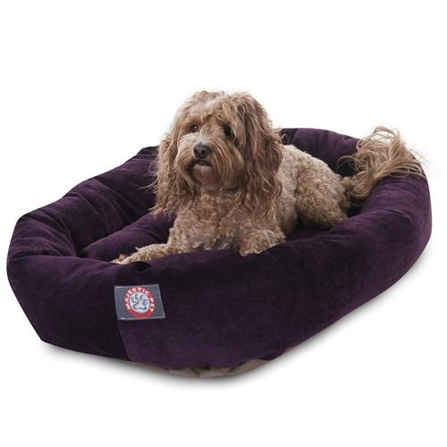 Majestic Pet Products 32 Aubergine Villa Collection Micro-Velvet Bagel Bed By Majestic Pet Products