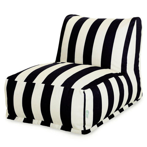 Majestic Home Goods 85907220323 Black Vertical Stripe Bean Bag Chair Lounger - Peazz.com