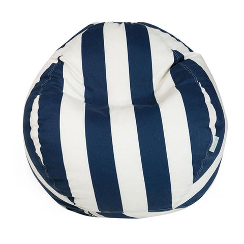Majestic Home Goods 85907224022 Navy Blue Vertical Stripe Small Classic Bean Bag - Peazz.com