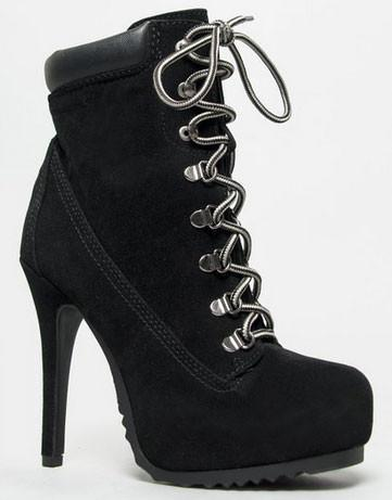 Ruler-H Lace Up High Heel Hiker Ankle Boot Bootie - Peazz.com