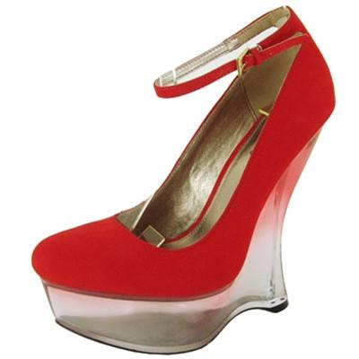 Tavee-01 Lucite Almond Toe Ankle Strap Wedge - Peazz.com
