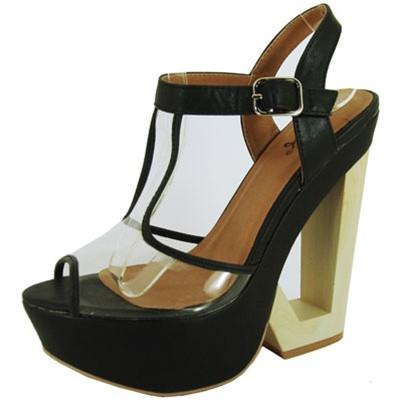 Bullet-09X Lucite T-Strap Cut Out Platform Wedge - Peazz.com
