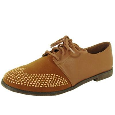 Strip-85 Lace Up Studded Oxford Flat - Peazz.com