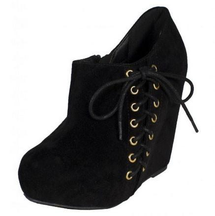 COYE Side Lace Up Hidden Platform Wedge Ankle Bootie with Side Zipper in Faux Suede - Peazz.com
