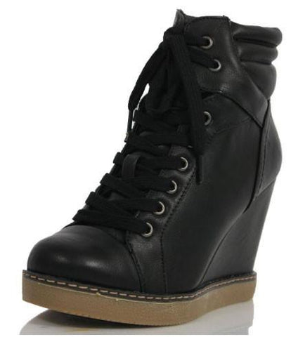 Haley Faux Leather Lace Up Platform Wedge High Top Ankle Bootie - Peazz.com