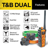 Dogtra T&B Dual 2-Dog Long Range 1.5-Mile Expandable Dual Dial Training & Beeper Remote Trainer