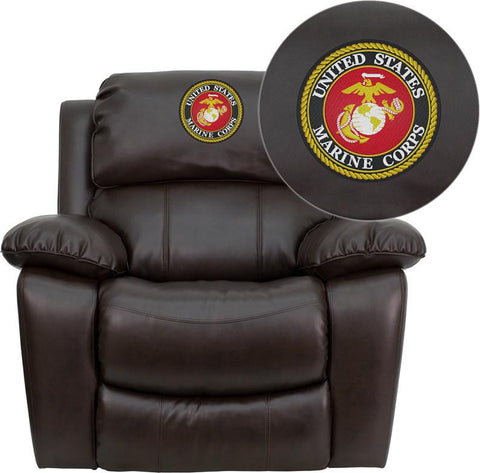 Flash Furniture MEN-DA3439-91-BRN-EMB-GG Personalize Your Brown Leather Rocker Recliner - Peazz.com