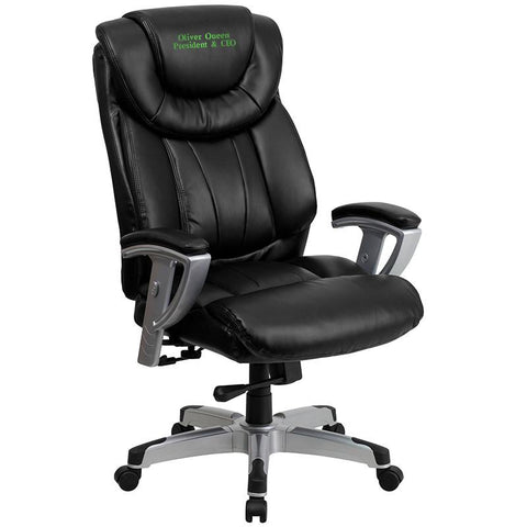 Flash Furniture GO-1534-BK-LEA-EMB-GG Embroidered HERCULES Series 400 lb. Capacity Big & Tall Black Leather Office Chair with Arms - Peazz.com