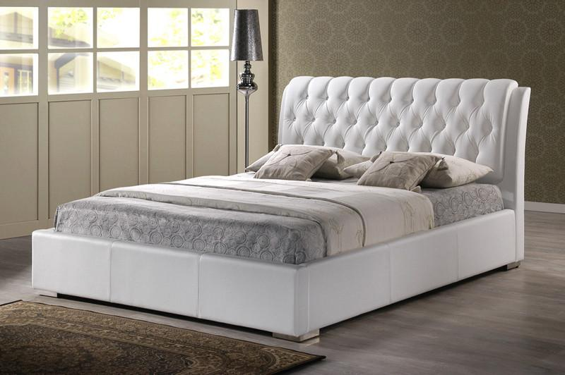 White Modern Bed Tufted Headboard King Size Each 14257 Product Photo
