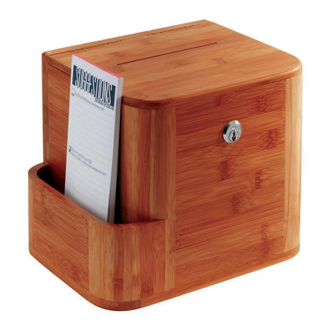 Safco 4237CY Bamboo Suggestion Box - Peazz Furniture