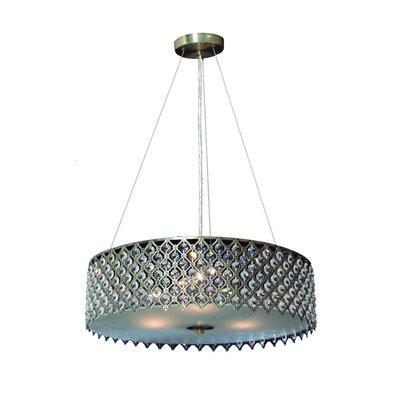 Gen-Lite 104327AG Three Light Antique Gold Pendant With Crystals - PeazzLighting