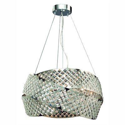 Gen-Lite 104392 Eight Light Chrome Pendant With Crystals - PeazzLighting