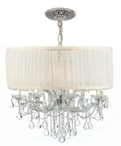 Crystorama Brentwood Chandelier Draped in Clear Hand Cut Crystal & Accented with an Antique White Shade 8 Lights - Polished Chrome - 4489-CH-SAW-CLM - PeazzLighting