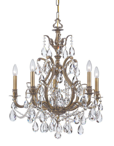 Crystorama Swarovski Strass Chandelier 5 Lights - Antique Brass - 5575-AB-CL-S - PeazzLighting