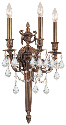 Crystorama 753-MB-CL-S 3-Lights Ornate Cast Wall Sconce With Clear Swarovski Elements Crystal - Matte Brass - PeazzLighting