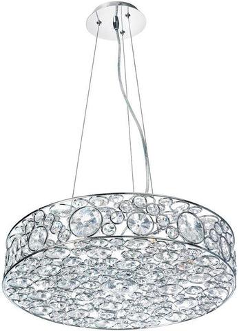 Dainolite 6 Lite Polished Chrome Pendant With K-9 Clear Crystal LYN-18-6-PC - PeazzLighting
