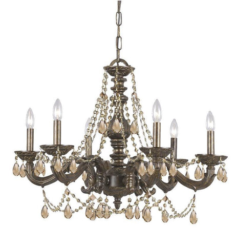 Crystorama Golden Teak Swarovski Elements Crystal Chandelier 6 Lights - Venetian Bronze - 5026-VB-GTS - PeazzLighting