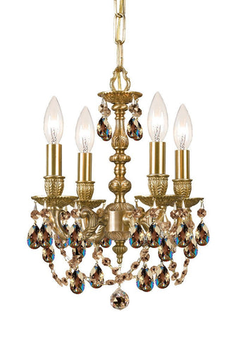 Crystorama Cast Brass Mini Chandelier Accented with Golden Teak Swarovski Elements Crystal 4 Lights - Aged Brass - 5504-AG-GTS - PeazzLighting