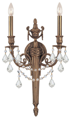 Crystorama 752-MB-CL-S 2-Lights Ornate Cast Wall Sconce With Clear Swarovski Elements Crystal - Matte Brass - PeazzLighting