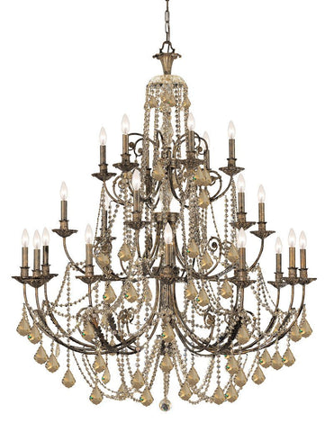 Crystorama Golden Teak Swarovski Elements Crystal Wrought Iron Chandelier , English Bronze Finish 12 Lights - English Bronze - 5120-EB-GTS - PeazzLighting