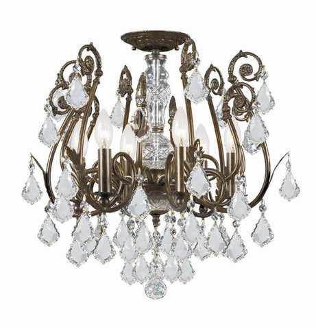 Crystorama 5115-EB-CL-S 6-Lights Clear Strass Crystal Wrought Iron Semi-Flush - English Bronze - PeazzLighting