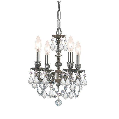 Crystorama Cast Brass Mini Chandelier Accented with Swarovski Elements Crystal 4 Lights - Pewter - 5504-PW-CL-S - PeazzLighting