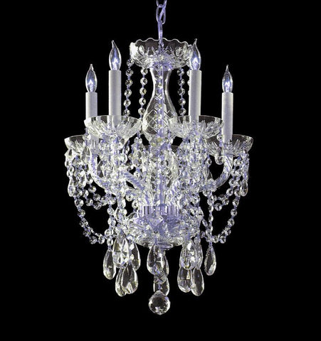 Crystorama 1129-CH-CL-MWP 5-Lights Hand Cut Crystal Chandelier - Polished Chrome - PeazzLighting
