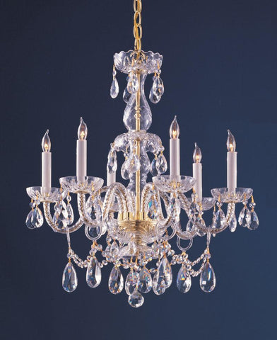 Crystorama 1126-PB-CL-SAQ 6-Lights Swarovski Spectra Crystal Chandelier - Polished Brass - PeazzLighting