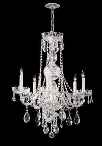 Crystorama 1115-CH-CL-MWP 5-Lights Hand Cut Crystal Chandelier - Polished Chrome - PeazzLighting