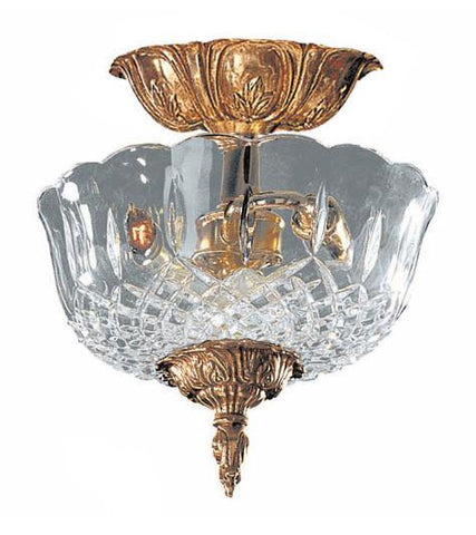 Crystorama 55-CT-OB 2-Lights 24% Lead Crystal Cast Brass Semi-Flush Mount - Olde Brass - PeazzLighting
