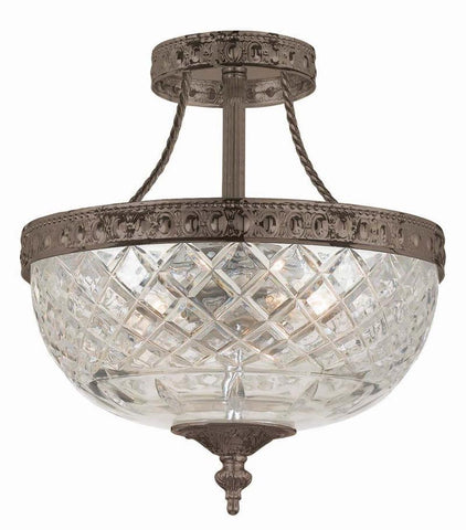 Crystorama 118-10-EB 3-Lights 24% Lead Crystal Semi-Flush Mount - English Bronze - PeazzLighting
