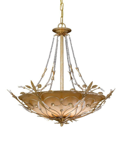 Crystorama Primrose Chandelier Adorned with Swarovski Spectra Crystal Beads 6 Lights - Gold Leaf - 4700-GL - PeazzLighting