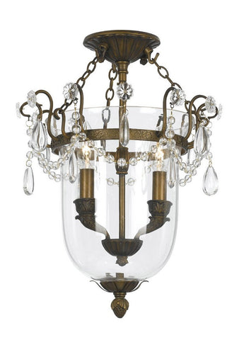 Crystorama 5711-AB 2-Lights Antique Brass Semi-Flush Mount Accented With Clear Oyster Crystals - Antique Brass - PeazzLighting