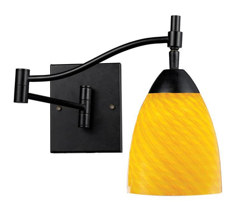 ELK Lighting Celina Celina 1-Light Swingarm Sconce In Dark Rust And Canary Glass - 10151/1DR-CN - PeazzLighting