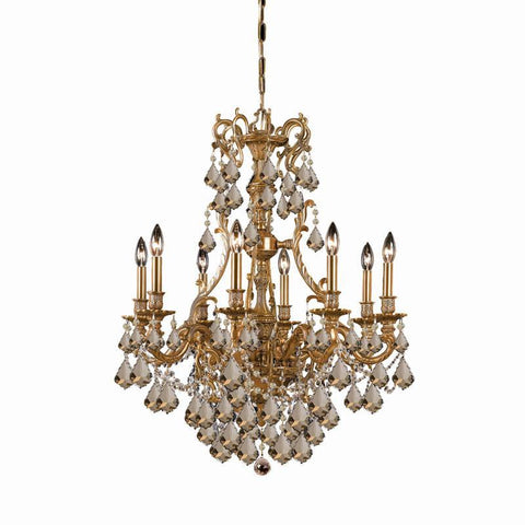 Crystorama Ornate Aged Brass Chandelier Accented with Golden Teak Hand Cut Crystal 8 Lights - Aged Brass - 5148-AG-GT-MWP - PeazzLighting