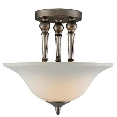 Z-Lite Clayton Collection Antique Silver Finish 2 Light Semi Flush Mount - ZLiteStore