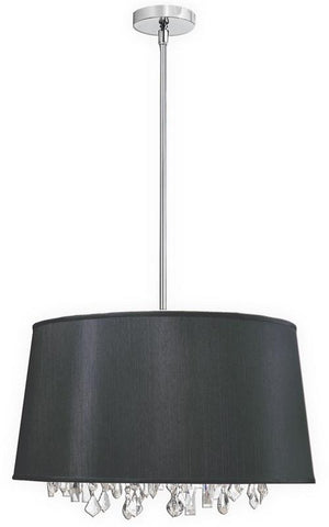 Dainolite 6 Lite Crystal Pendant Baroness Black/Silver Shade 30 Strands Crystal BAR2111-694-PC - PeazzLighting