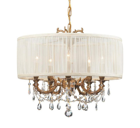 Crystorama Ornate Casted Aged Brass Chandelier with Clear Swarovski Spectra Crystal and an antique white Shade 5 Lights - Aged Brass - 5535-AG-SAW-CLQ - PeazzLighting