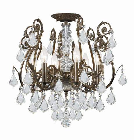 Crystorama 5115-EB-CL-SAQ 6-Lights Clear Swarovski Spectra Crystal Wrought Iron Semi-Flush - English Bronze - PeazzLighting