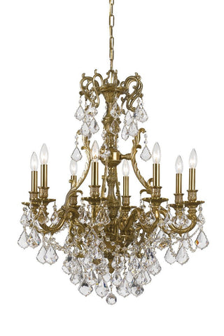 Crystorama Ornate Aged Brass Chandelier Accented with Swarovski Spectra Crystal 8 Lights - Aged Brass - 5148-AG-CL-SAQ - PeazzLighting