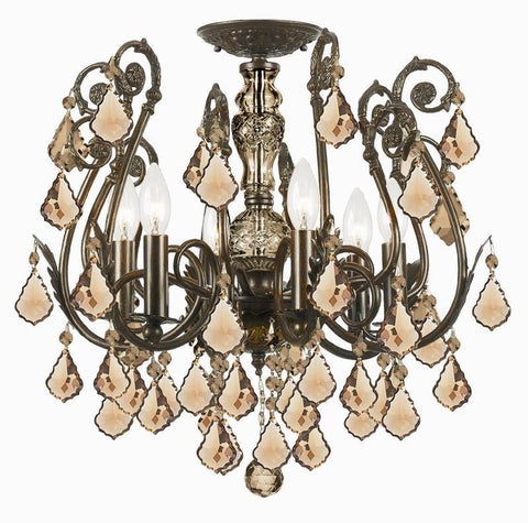 Crystorama 5115-EB-GT-MWP 6-Lights Golden Teak Hand Cut Crystal Wrought Iron Semi-Flush - English Bronze - PeazzLighting
