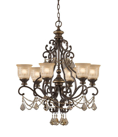 Crystorama Golden Teak Crystal Draped on a Wrought Iron Chandelier Handpainted with a Amber Glass Pattern 6 Lights - Bronze Umber - 7516-BU-GT-MWP - PeazzLighting