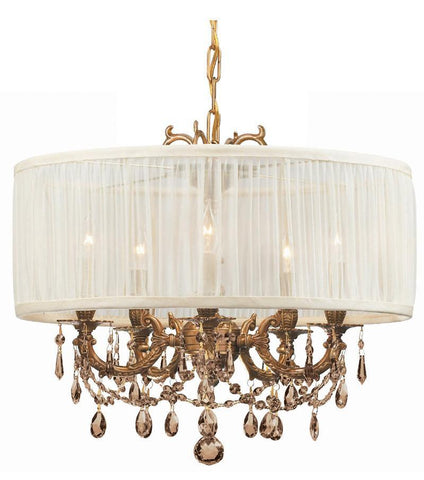 Crystorama Ornate Casted Aged Brass Chandelier with Golden Teak MWP Crystal and an Antique White Shade 5 Lights - Aged Brass - 5535-AG-SAW-GTM - PeazzLighting
