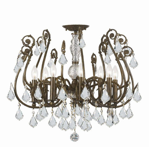 Crystorama 5118-EB-CL-MWP 8-Lights Clear Hand Cut Crystal Wrought Iron Chandelier - English Bronze - PeazzLighting