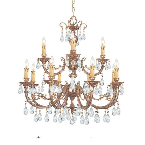 Crystorama Ornate Cast Brass Chandelier Accented with Swarovski Spectra Crystal 8 Lights - Olde Brass - 499-OB-CL-SAQ - PeazzLighting