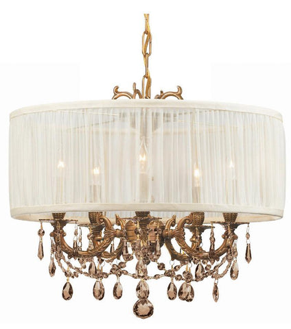 Crystorama Ornate Casted Aged Brass Chandelier with Golden Teak Elements Crystal and an Antique White Shade 5 Lights - Aged Brass - 5535-AG-SAW-GTS - PeazzLighting