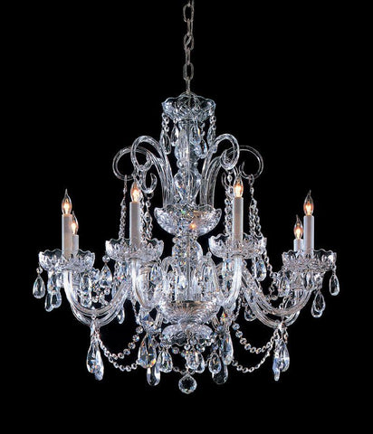 Crystorama Clear Hand Cut Crystal Chandelier 8 Lights - Polished Chrome - 5008-CH-CL-MWP - PeazzLighting