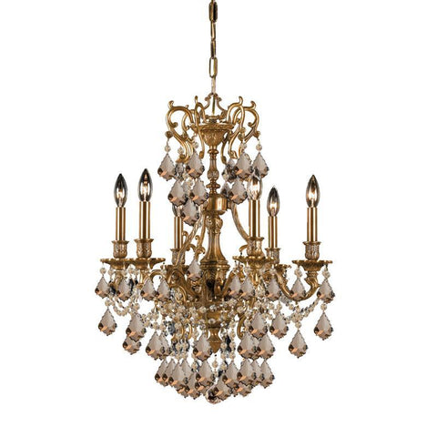 Crystorama Ornate Aged Brass Chandelier Accented with Golden Teak Swarovski Elements Crystal 6 Lights - Aged Brass - 5146-AG-GTS - PeazzLighting